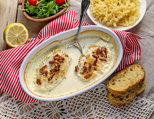 Chicken breasts in creamy sauce