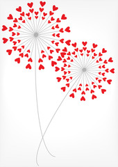 vector dandelions with hearts