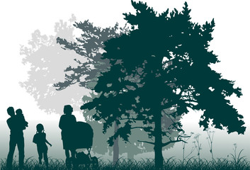 family in green forest on white background
