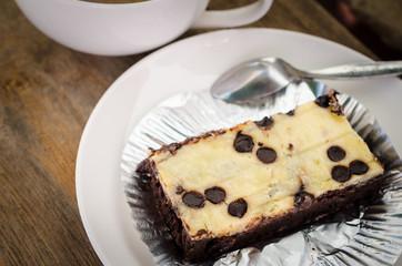 Chocolate brownie with coffee