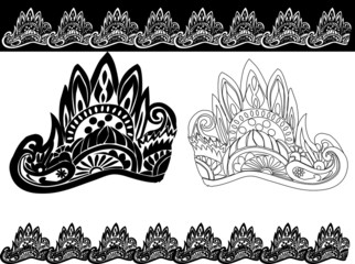 decorated black and white design with crown