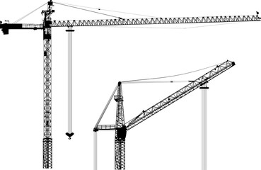 two building cranes isolated on white background