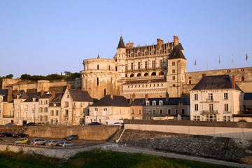 Castle on the river Loire: Chateau Amboise in sunset