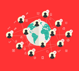 Flat design concept with world map and social network