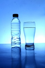 Bottle and glass of water