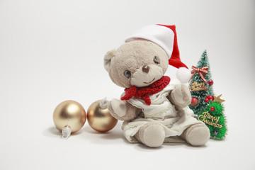 Cute teddy bear's Merry Christmas