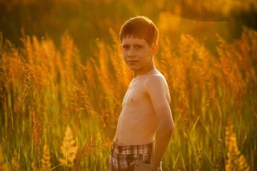 Boy standing among tall grass