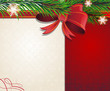 Christmas tree branches with red bow