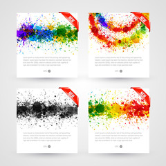 Set of bright paint splashes vector watercolor background