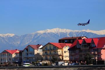 landing of airplane in Adler's airport