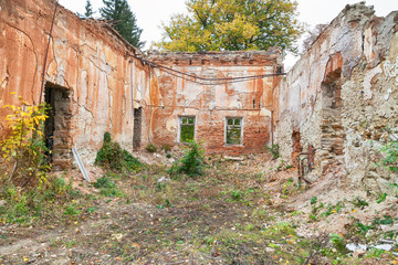 Ruins of destroyed and abandoned building outdoors