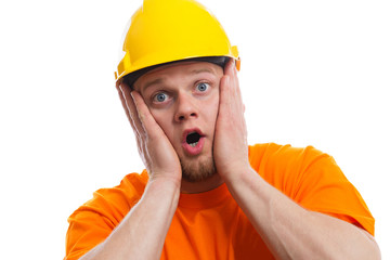 Terrified construction worker