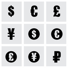 Vector black currency symbols  icons set