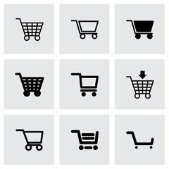 Vector black shopping cart icon set