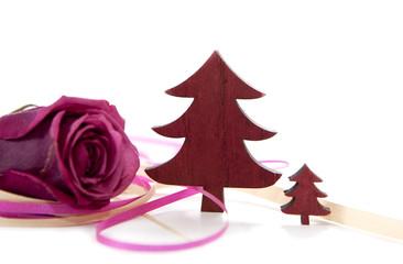 sapin et rose de Noël