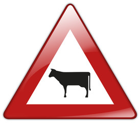 Button Patch Schild Achtung freilaufende Nutztiere