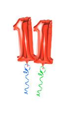 Rote Luftballons mit Geschenkband - Nummer 11