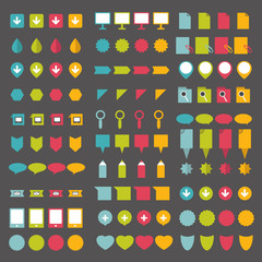 Collections of infographics flat design pointers.