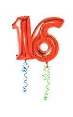 Rote Luftballons mit Geschenkband - Nummer 16