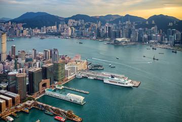 Panoramic view of Hong Kong downtown. China.