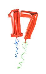 Rote Luftballons mit Geschenkband - Nummer 17