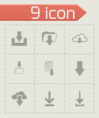 Vector black download icon set
