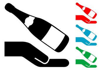 Pictograma mano con botella de champan con varios colores