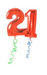 Rote Luftballons mit Geschenkband - Nummer 21