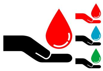 Pictograma mano con gota de sangre con varios colores
