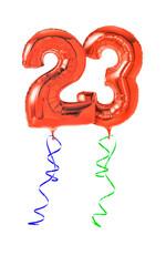Rote Luftballons mit Geschenkband - Nummer 23