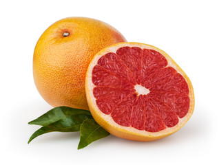 Grapefruits isolated on white background with clipping path