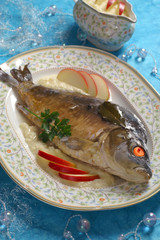 Carp in blue with horseradish sauce