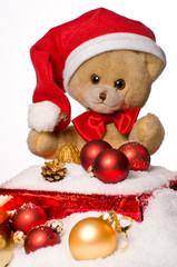 teddy bear with red christmas hat