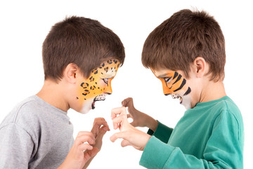 Boys with face-paint