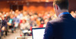 Leinwanddruck Bild - Public speaker at Business Conference.