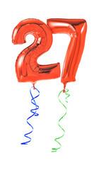 Rote Luftballons mit Geschenkband - Nummer 27