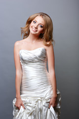 portrait of attractive caucasian smiling woman blond