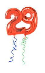 Rote Luftballons mit Geschenkband - Nummer 29