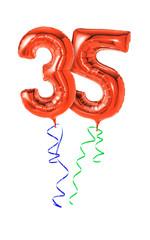 Rote Luftballons mit Geschenkband - Nummer 35