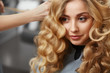 canvas print picture - Beautiful blonde with long wavy hair