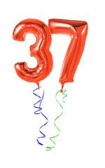Rote Luftballons mit Geschenkband - Nummer 37
