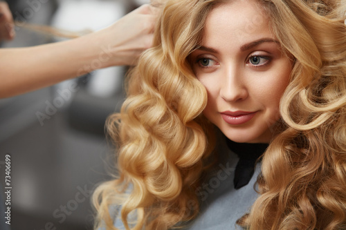 canvas print picture Beautiful blonde with long wavy hair