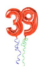 Rote Luftballons mit Geschenkband - Nummer 39