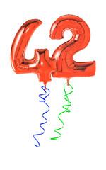 Rote Luftballons mit Geschenkband - Nummer 42