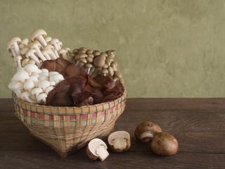Baskets of assorted mushrooms