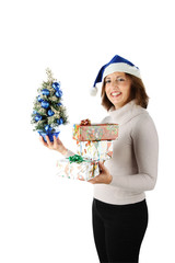 Woman is holding Christmas gifts