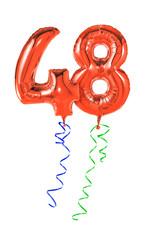 Rote Luftballons mit Geschenkband - Nummer 48