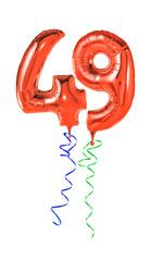 Rote Luftballons mit Geschenkband - Nummer 49