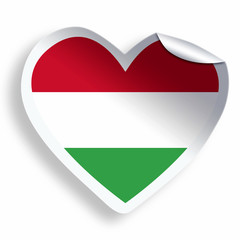 Heart sticker with flag of Hungary isolated on white