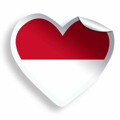 Heart sticker with flag of Indonesia isolated on white
